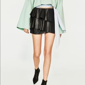 Zara Black Faux Leather Tiered Mini Skirt NWT